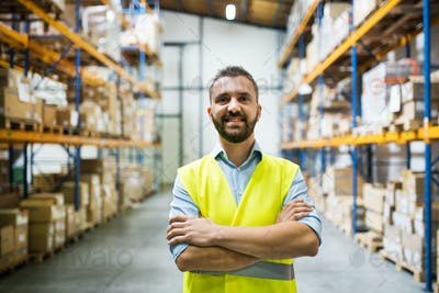 Portrait of a male warehouse worker.