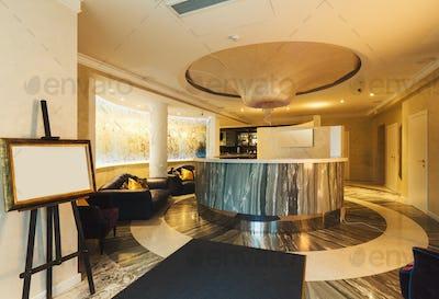 Interior of modern hotel reception