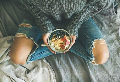 Healthy vegetarian dieting winter breakfast in bed concept