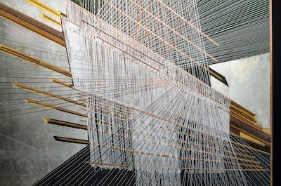 Traditional Thai silk hand weaving process