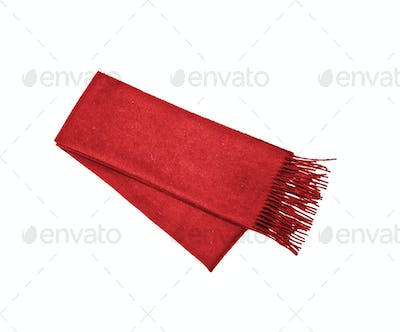Red winter scarf isolated on white