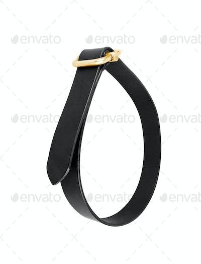 black leather men belt roll
