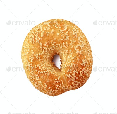 Donut with sesame on white