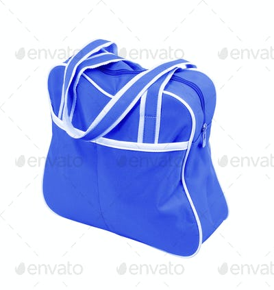blue fabric bag with zipper