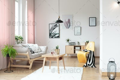 Pastel curtains in living room