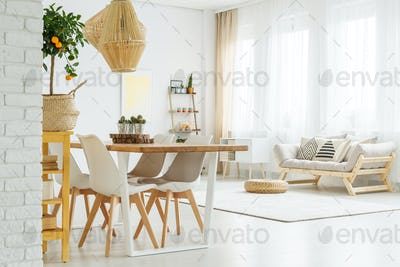 Open space with dinner table