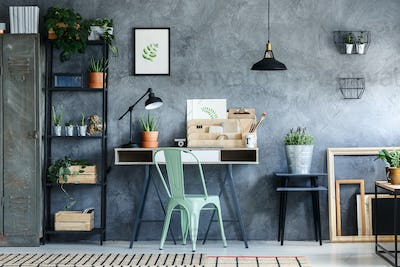 Loft office with vintage decor