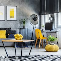 Apartment with pop of yellow
