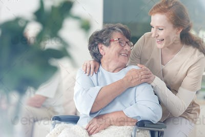 Patient and caregiver spend time together