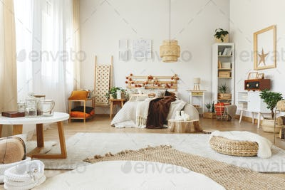 Three carpets in bedroom