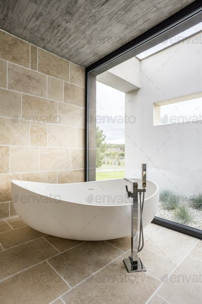 Large bathtub and window wall