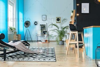 Modern furniture in luxurious loft