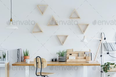 Scandi interior with triangle shelves