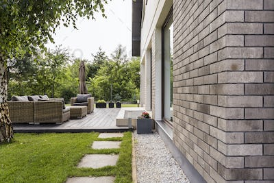 House in the suburbs with big patio