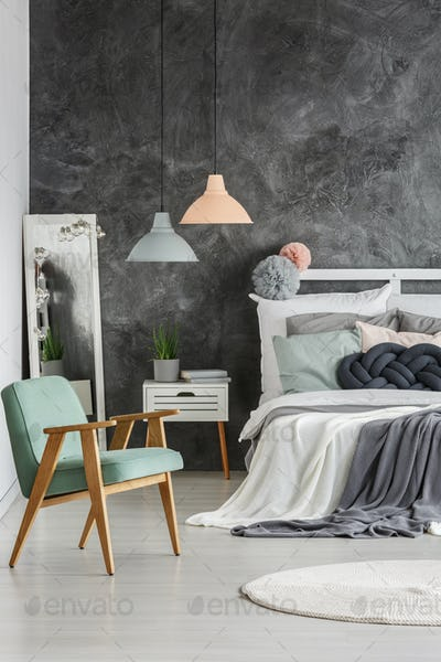 Gray wall in room
