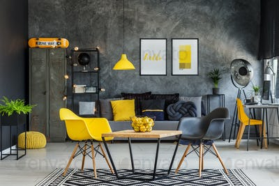 Yellow and gray industrial office