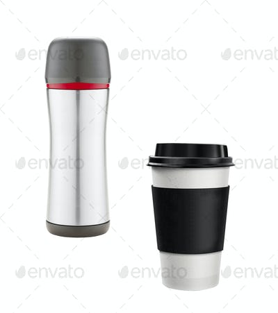Coffee Cup and thermos isolated