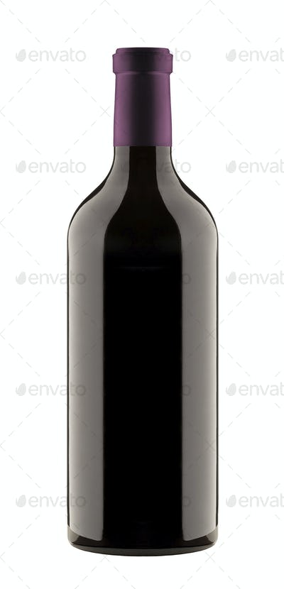 red wine a bottle isolated