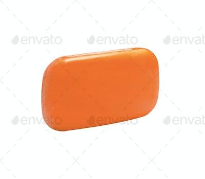 Orange soap isolated on white background