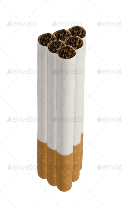 Close-up of Tobacco Cigarettes isolated on white background