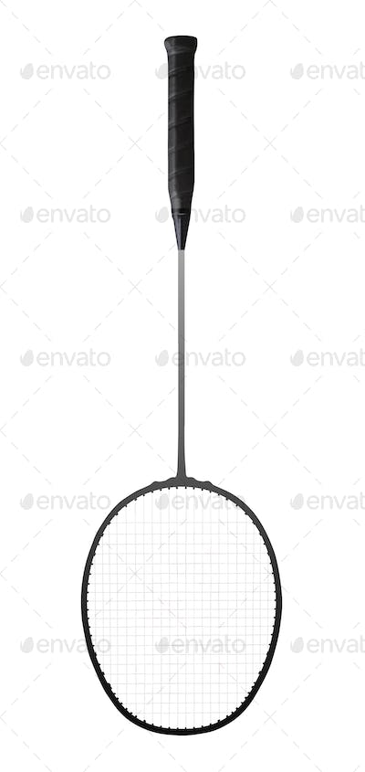 Close-up of a badminton racket isolated