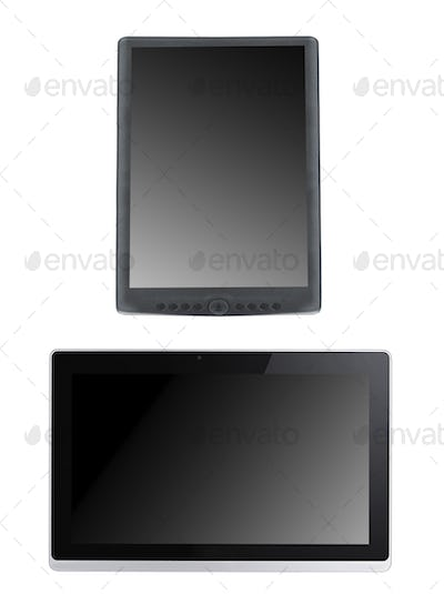 Portable e-book reader with tablet pc isolated
