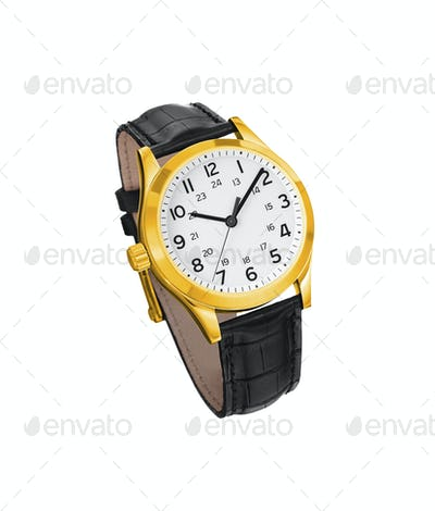 Golden watch isolated