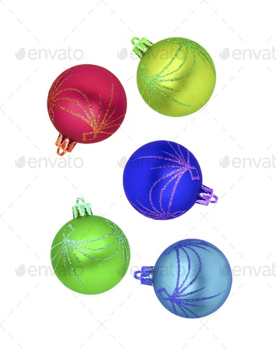 Christmas multicolor balls isolated on white