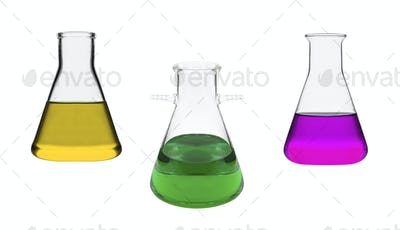 Chemical laboratory flasks isolated