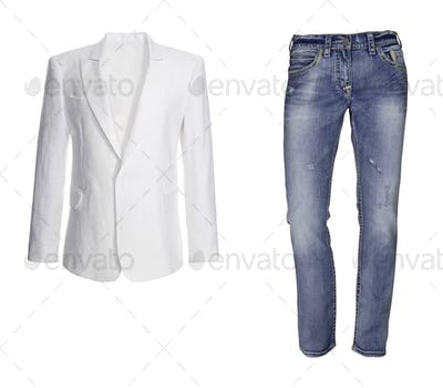 Blue jeans with white jacket isolated