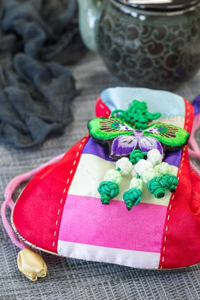 Korean traditional new year's lucky bag on grey background