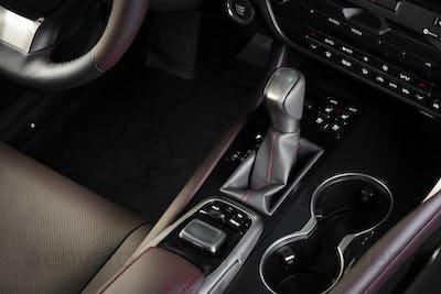 Automatic transmission gear stick in modern car interior
