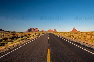 Empty scenic highway in Monument Valley