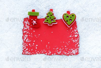 Greeting card on snow background. Christmas background with spac
