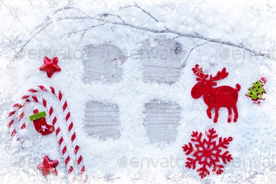 Christmas background. Greeting card with snow and christmas deco