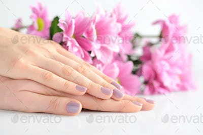 Hands of a woman with pink manicure on nails and pink flowers on