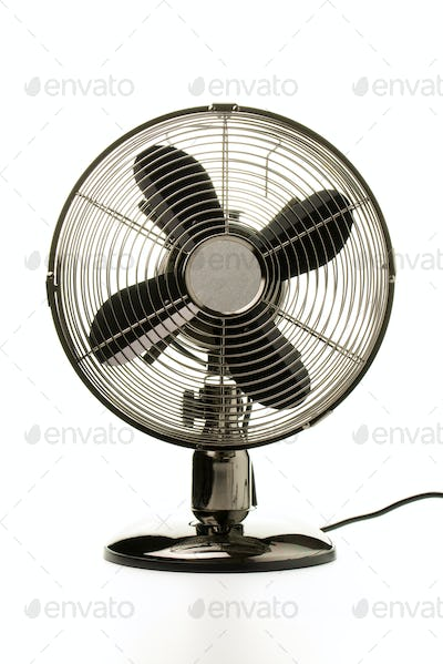 Retro table fan isolated on white background
