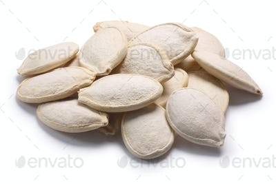 Pepita pumpkin seeds Cucurbita pile, paths