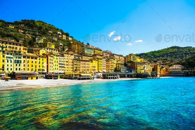 Camogli beach and typical colorful houses. Ligury, Italy