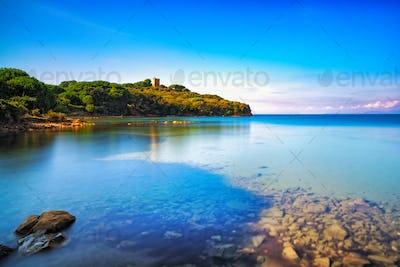 Punta Ala sea, wild beach bay. Maremma Tuscany, Italy Europe