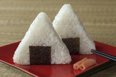 Fresh made Japanese triangular onigiri