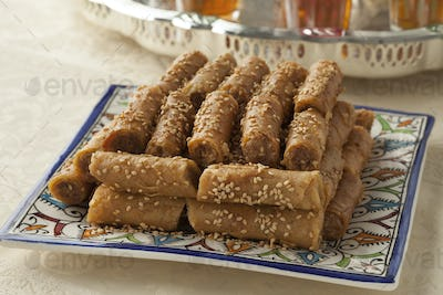 Traditional festive Moroccan cookies and tea