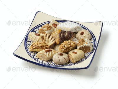 Dish with traditional variety of festive Moroccan cookies