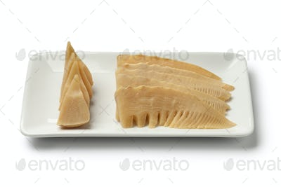 Simmered young bamboo shoots on a dish