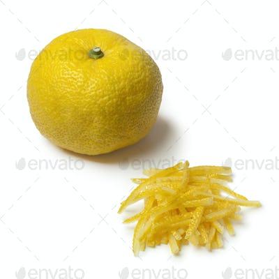 Fresh strips of a yellow Japanese Yuzu skin