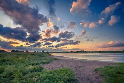 Rhine river bank at sunset