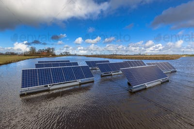 Group of Photovoltaic panels floating on water