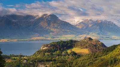 Lake Wakatipu with Mountains near Queenstown New Zealand