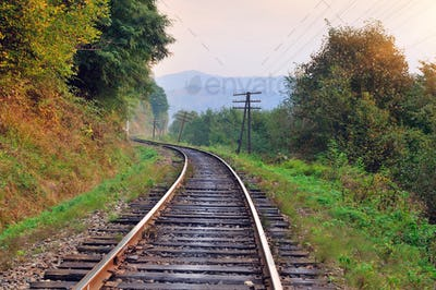 Railway track in a beautiful autumn forest fog. dampness, bright