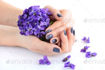 Hands of a woman with dark manicure on nails and bouquet of viol